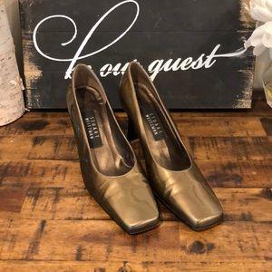 Stuart Weitzman Square Toe Gold Metallic Heels